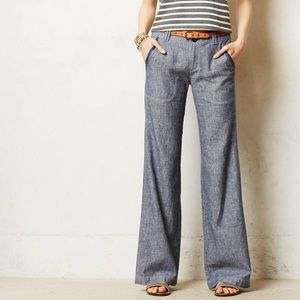 ANTHROPOLOGIE | pilcro linen wide leg pants 0349